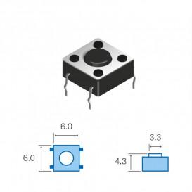 Pulsador Tacto 6x6mm 4,3mm altura total SW062