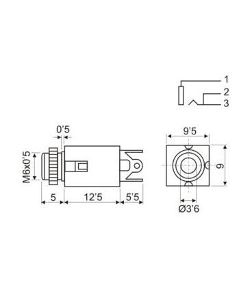 Base JACK 3,5mm Hembra Mono