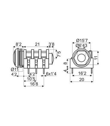 Base JACK 6,3mm Hembra Stereo C.I.