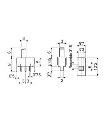 Conmutador 2posiciones 1circuito c/impreso