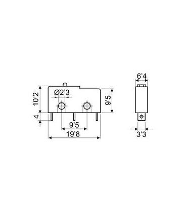 Microrruptor sin palanca 3A/250V 19,8x10,2x9,5mm