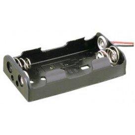 Portapilas R06x2 con Cables 2 pilas AA en plano