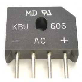 Puente Rectificador 1000V 6Amp 24x12mm Hilos KBU610