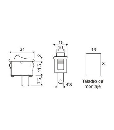 Pulsador Basculante 1 circuito NEGRO 49hf195