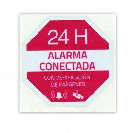Adhesivo de vinilo serigrafiado ALARMA CONECTADA
