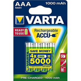 Bateria R03 AAA 1000mAh 1,2V NiMh (BLISTER 4 unidades) VARTA