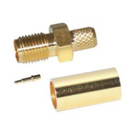Conector SMA Hembra Inverso RG58 pin macho CRIMPAR