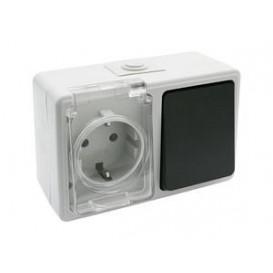 Base Schuko + Interruptor Superficie Estanco IP44