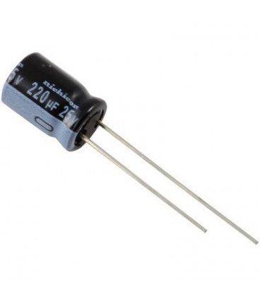 Condensador Electrolitico 220uF 25Vdc 105ºC medidas 8x12mm