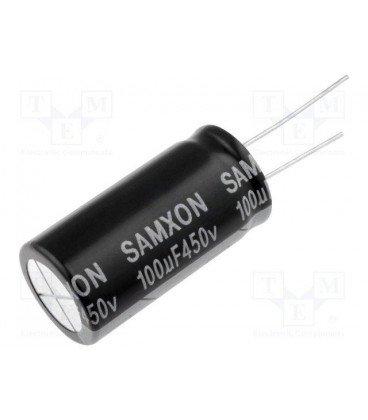 Condensador Electrolitico 100uF 450Vdc 105ºC medidas 18x40mm