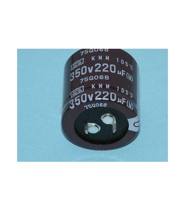 Condensador Electrolitico 220uF 350Vdc medidas 25x35mm 2pin