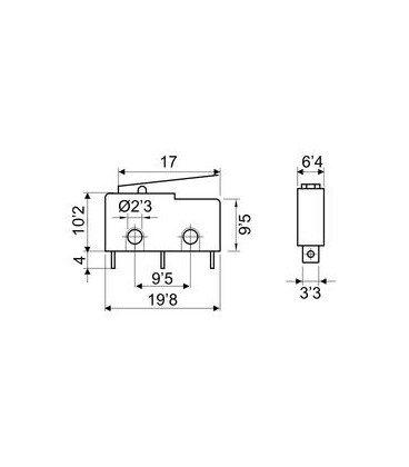 Microrruptor Palanca 17mm 3A