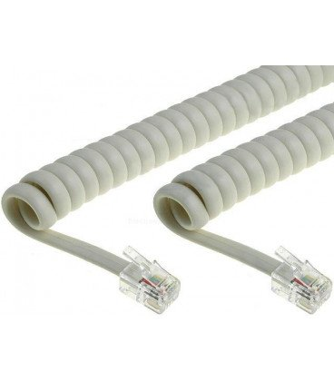 Cable Telefono RJ09 4P4C Espiral 5m Marfil
