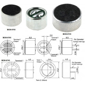 Capsula Microfonica Electret 2K2 Ohm alimentacion 1,5-10V