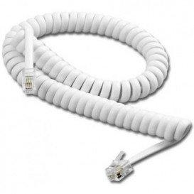 Cable Telefono RJ09 4P4C Espiral 7m Blanco
