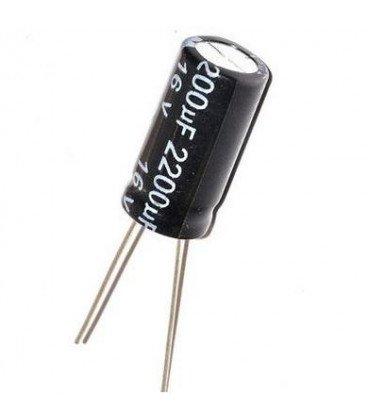 Condensador Electrolitico 2200uF 16Vdc medidas 12x20mm