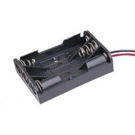 Portapilas R03 x4 4 Pilas AAA en plano c/cables