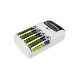 Cargador Baterias NiMH AA o AAA LCD +4 Baterias AA
