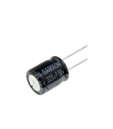 Condensador Electrolitico 220uF 50Vdc medidas 10x13mm