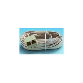 Cable Telefono RJ11 6P4C a 2 Hembras 7,5m Marfil