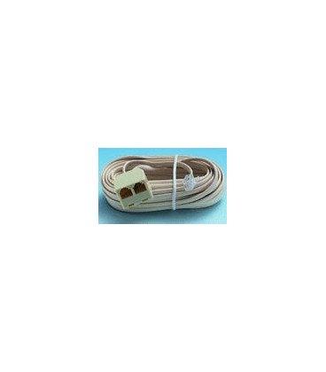 Cable Telefono RJ11 6P4C a 2 Hembras 7,5m Marfil