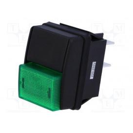 Interruptor Presion 2 pulsadores Negro/Verde 10A/250Vac OFF-ON
