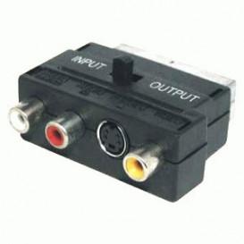 Adaptador Euro Macho a 3RCA MiniDin4P con Conmutador