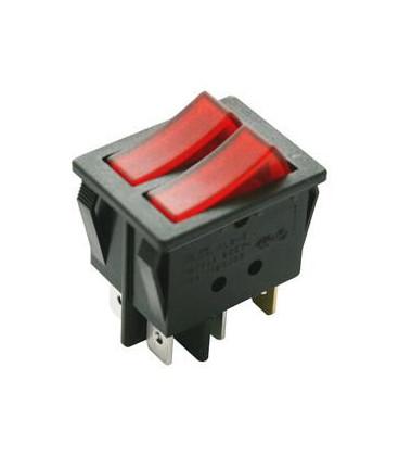 Interruptor Basculante DOBLE Luminoso ROJO 16Amp 250Vac