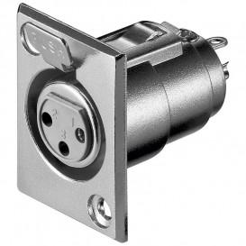 Base Conector XLR Hembra 3Pin para Chasis C/tornil