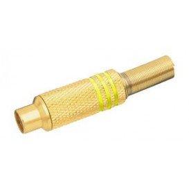 Conector RCA Hembra Metal Dorado con aros Amarillo