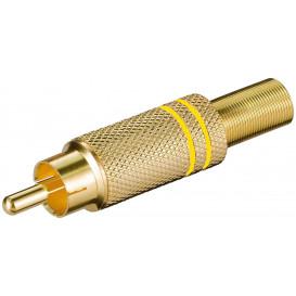 Conector RCA Macho Metal Dorado con aros Amarillo