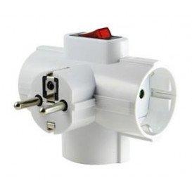 Adaptador 3 Tomas Schuko + Interruptor 3500W 16A/250Vac Triple
