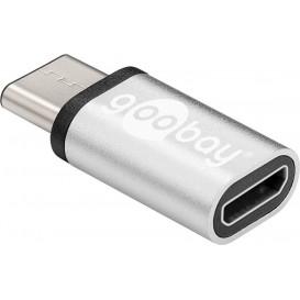 Adaptador USB-C Macho a MicroUSB Hembra PLATA