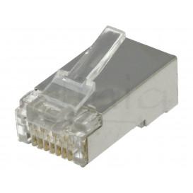 Conector RJ45 Cat6 FTP BLINDADO 8p8c para cable Plano, Redondo, Trenzado