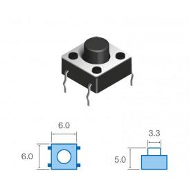 Pulsador Tacto 6x6mm Alto 5,0mm 4patas TACT-65N-F