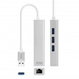 Conversor USB 3.0 a Ethernet Gigabit + 3xUSB 3.0 Plata  15cm