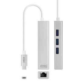 Conversor USB-C a Ethernet Gigabit + 3xUSB 3.0 Plata  15cm