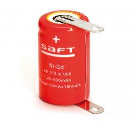 Bateria 2/3A NiCd 1,2V 600mA con Terminales