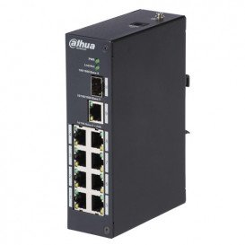 Switch DIN PoE Ethernet 8Port 96W 1xUplink 1xSFP Fibra