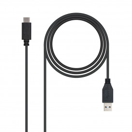 Cable USB 3.1 A a USB-C 1m 10Gbps Negro