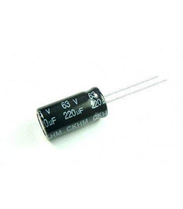 Condensador Electrolitico 220uF 63Vdc medidas 10x17mm