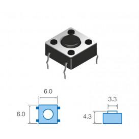 SW061 Pulsador Tacto 6x6mm Largo 4,3mm 4 patillas