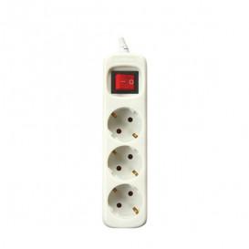 Regleta 3 Enchufes Interruptor+Cable 3m BLANCA