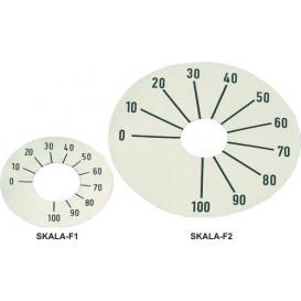 Disco Boton de Mando Numerado de 0 a 100, diametro 45mm fondo color Plata