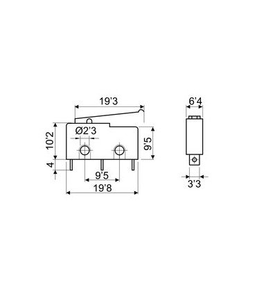 Microrruptor 3A Palanca 19,3mm+simulacion Roldana