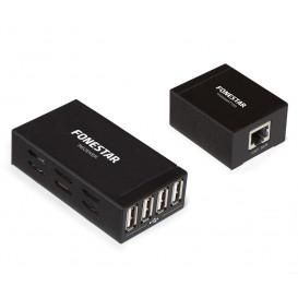 Extensor USB por UTP RJ45 con HUB 4 Puertos