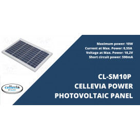 Panel Solar de Silicio 18,2V 10W medidas 354x251x17mm