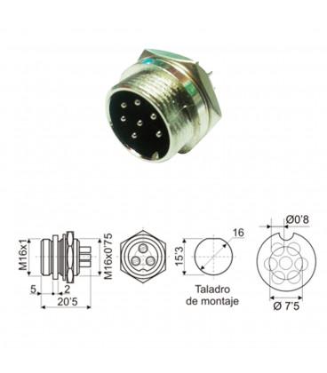 Conector DIN Rosca Macho 7Pin 10.230/7M