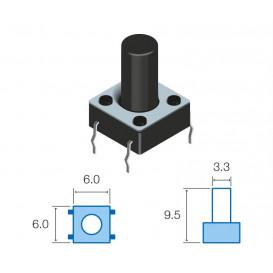 Pulsador Tacto 6x6mm altura total del boton 9,5mm TACT-69K-F