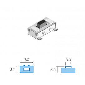 Pulsador SMD 3,4x7mm  Altura total 3,5mm